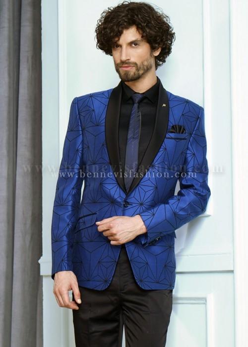 Blue Terry Rayon Mens Designer Suit