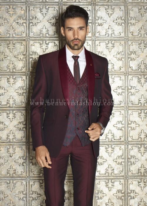 Maroon Terry Rayon Mens Designer Suit