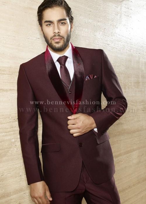 Maroon Terry Rayon Designer Mens Suit