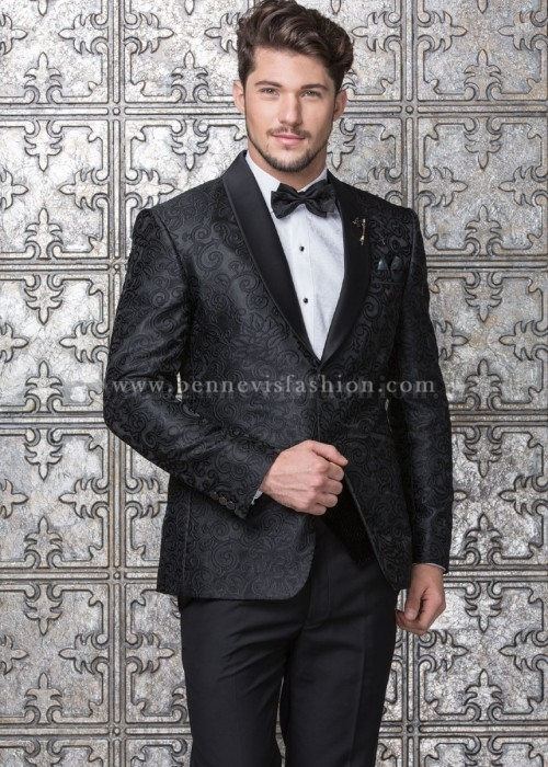 Black Jacquard Designer Mens Suit