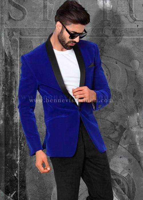 Royal Blue Velvet Mens Blazer