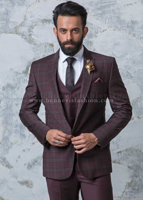 Maroon Checkered Mens suit