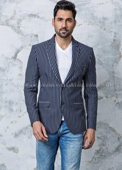 Blue Striped Stylish Mens Blazer