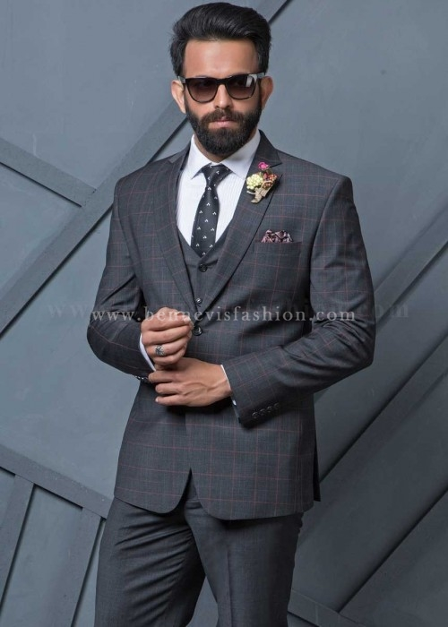 Grey Terry Wool Checkered Designer Suit