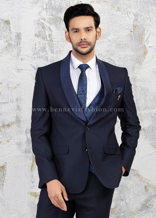Mens Solid Blue Wedding Suit