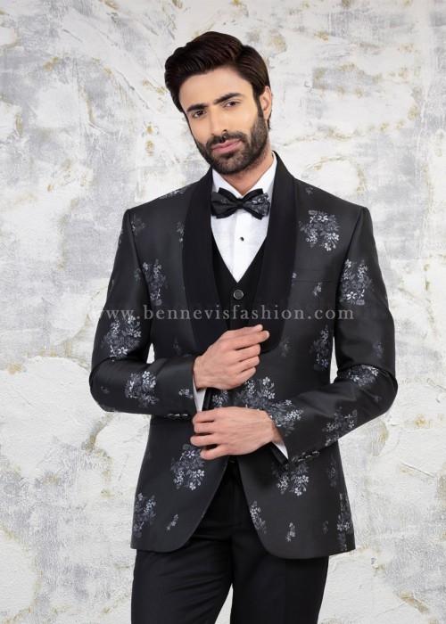 Dark Grey Premium Floral Suit for Men