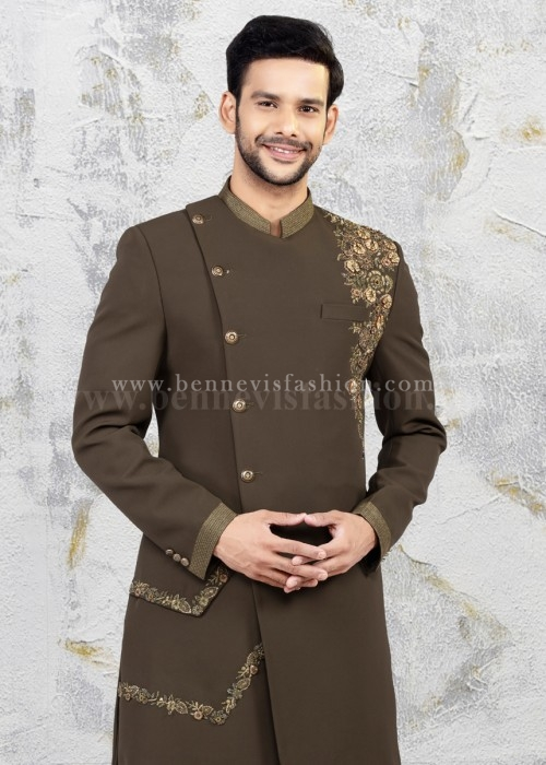 Mehendi Green Embroidered Sherwani for Men