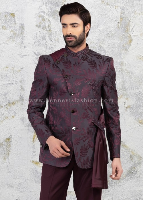 Wine Bandhgala with Dupatta and Handwork for Men