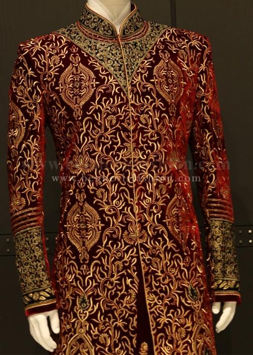 Royal Maroon Velvet Sherwani for Men