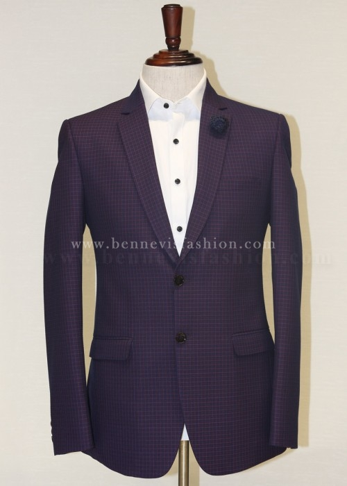 Mens ClassicDark Purple Checkered Blazer