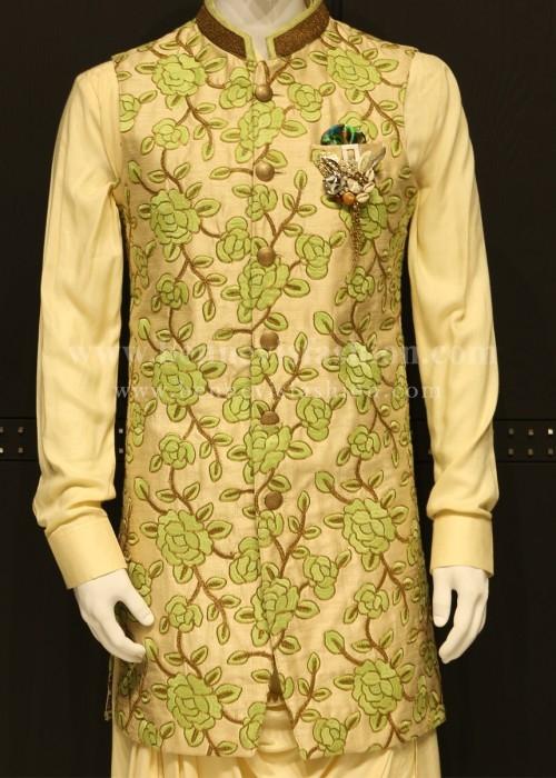 Fawn and Light green Floral Long Bandi Kurta Set For Men