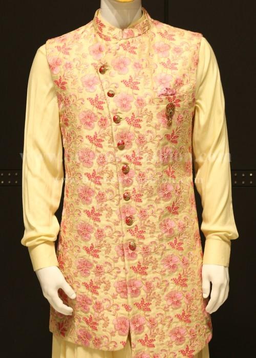 Light pink Floral Long Bandi Kurta Set For Men
