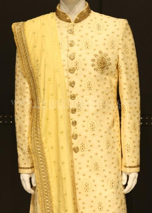 Elegant Fawn color Designer Sherwani