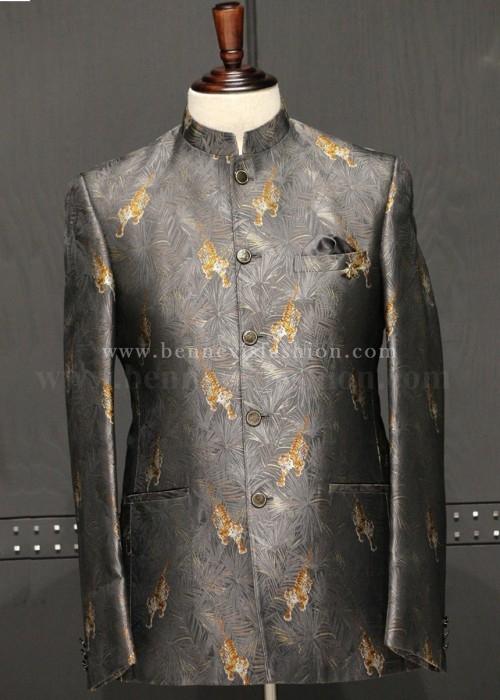 Grey Jacquard Bandhgala with Tiger motif for Men
