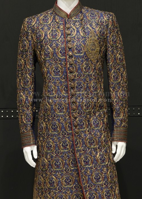 Blue Color Embroidered Mens Sherwani