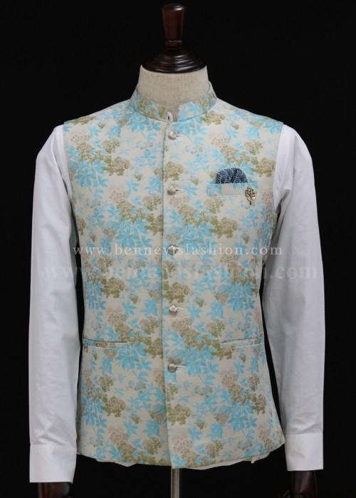 Blue and Gold Floral Bundi Jacket for Men