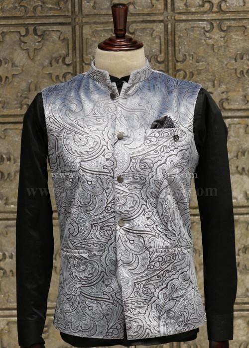 Bluish Grey Bundi Jacket for Men.