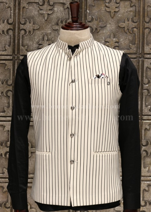 White Stripe Bundi Jacket for Men
