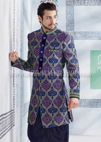 Blue Jute Designer Indowestern Sherwani