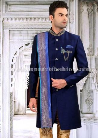 Navy Blue Imported Designer Indowestern Sherwani