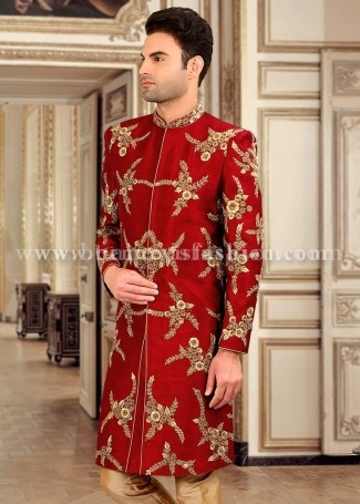Red Silk Embroidered Sherwani for Men