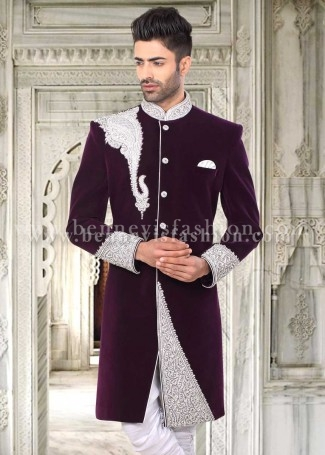 Burgundy Velvet Designer Indowestern Sherwani