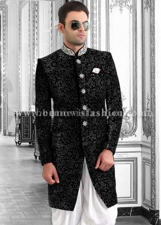 Black Velvet Designer Indowestern Sherwani