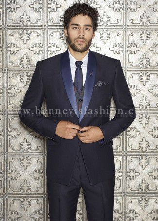 Navy Blue Terry Rayon Mens Designer Suit