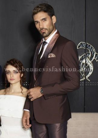 Brown Terry Rayon Designer Mens Suit