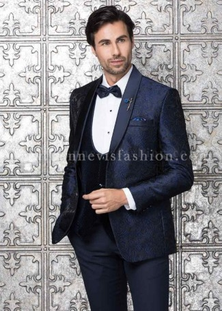Blue Jacquard Designer Mens Suit