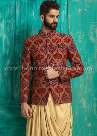 Orange Jute Printed Men's Jodhpuri Suit