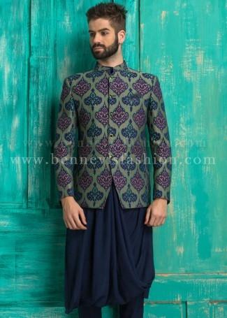 Blue Jute Printed Men's Jodhpuri Suit