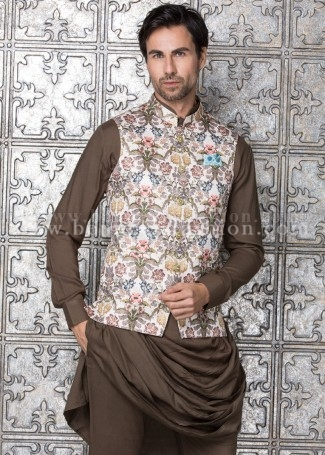 Off-white Floral Printed Waistcoat with Kurta Set
