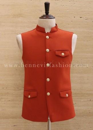 Orange Knitted Men's Waistcoat