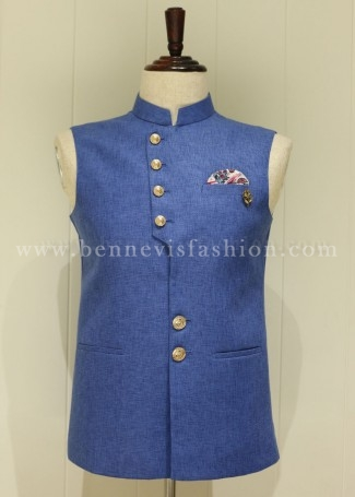 Traditional Blue Waistcoat for Men