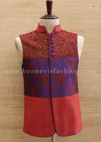 Red Designer Festive Men's Waistcoat