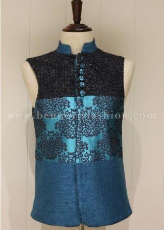 Teal Blue Designer Festive Waistcoat