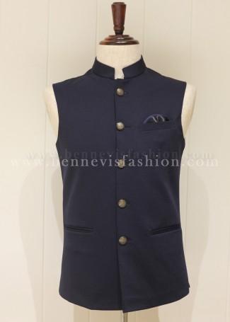 Blue Terry Rayon Men's Waistcoat