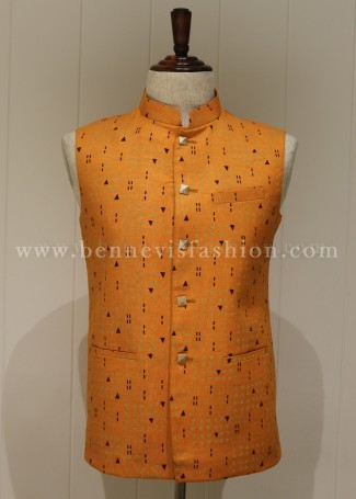 Orange colored Printed Men's Waistcoat