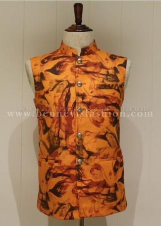 Linen Orange colored Printed Waistcoat for Men