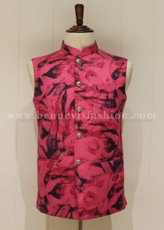Linen Pink colored Printed Waistcoat for Men