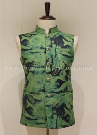 Linen Pista colored Printed Waistcoat for Men
