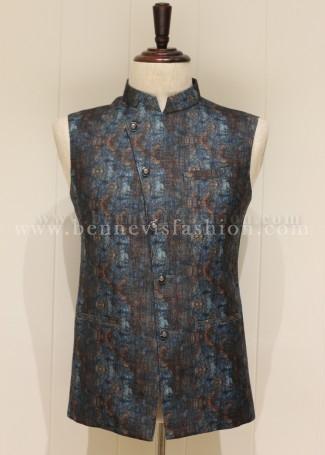 Blue Digital Printed Linen Waistcoat