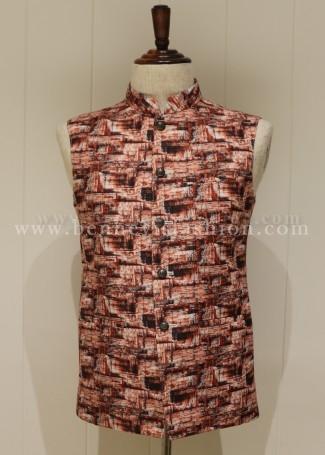 Digital Printed Rust Colored Linen Waistcoat