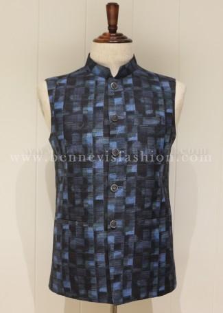 Black Checkered Linen Bandi Jacket for Men