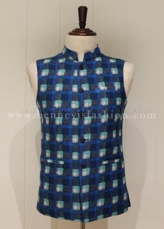 Blue Checkered Linen Bandi Jacket for Men