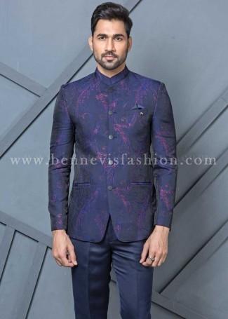 Blue Jacquard Jodhpuri Suit