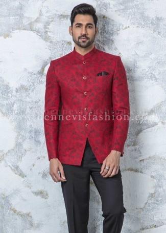 Red Linen Floral Jodhpuri Suit