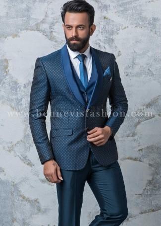 Teal Blue Designer Mens Suit
