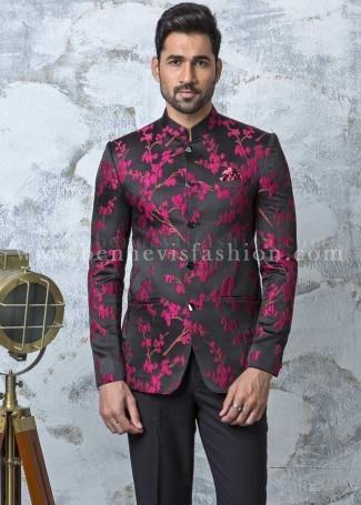 Black Jacquard Designer Jodhpuri Suit